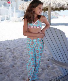 Look at this #zulilyfind! Aqua Arabesque Palazzo Pants - Girls #zulilyfinds