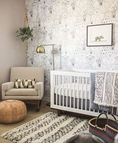 "449 Likes, 7 Comments - L o o m + K i l n (@loomandkiln) on Instagram: ""The sweetest baby boy nursery with our Moroccan leather pouf by @100layercakelet """