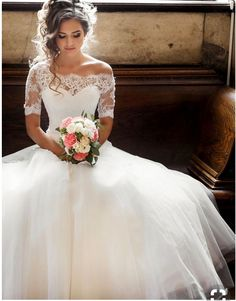 This is exactly what I want Lace Sleeve Wedding Dress, Off Shoulder Wedding Dress, Vintage Wedding Gowns, Wedding Dress Tulle, Wedding Dresses Short Bride, A Line Wedding Dress With Sleeves, Wedding Dress Buttons, Illusion Neckline Wedding Dress, Pretty Wedding Dresses