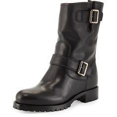 Prada Calf Leather Biker Boot (3.870 BRL) ❤ liked on Polyvore featuring shoes, boots, black, round toe boots, moto boots, black biker boots, engineer boots and stacked heel boots