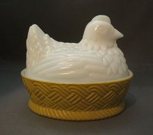 Avon Milk Glass Hen on Nest Basket