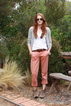 white/gray neutrals + coral chinos.