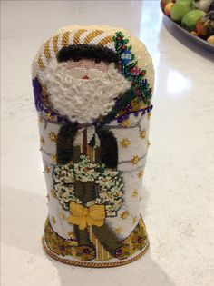 Needlepoint golden Santa stand up - front