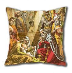 Novel Design The Worship Of The Wise Men Standard Size Design Square Pillowcase/Cotton Pillowcase with Invisible Zipper in 40*40CM (5267)-52749 $21.88