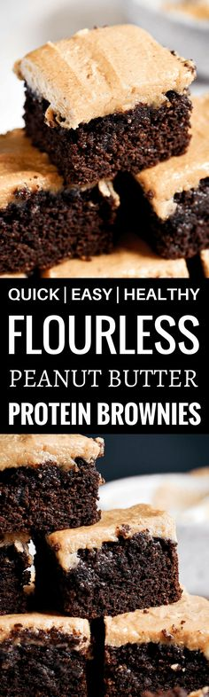 Best healthy paleo coconut flour brownies topped with a smooth and creamy peanut butter frosting (almond butter for paleoers). Each brownie has 16g protein! Best gluten free brownies. Best paleo brownies recipe. Fudgey paleo brownie recipe. Fudgey chocolate brownies. Healthy brownie recipe. Easy paleo brownies.