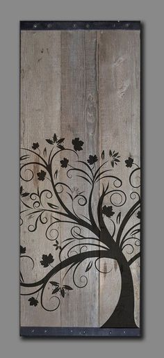 "Reclaimed Barn Wood - Rustic Wall Art - Whimsical tree Painting 41"" x 18"""