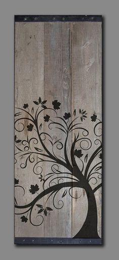 "Reclaimed Barn Wood - Rustic Wall Art - Whimsical tree Painting 41"" x 18"""