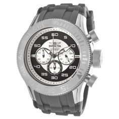 Men's Wrist Watches - Invicta Mens 14972 Pro Diver Chronograph Silver Black Dial Grey Silicone Watch ** See this great product. (This is an Amazon affiliate link)