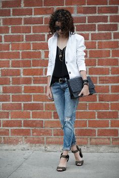 Casual outfit for summer. White, stripe blazer. Silk button camisole. Studded sandals. Distressed jeans. Click through for full details via @alteratnsneeded