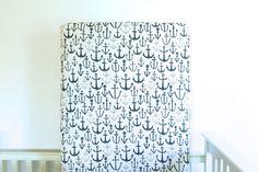 Organic crib sheet: blue anchors // by HorseAndDragonShoppe