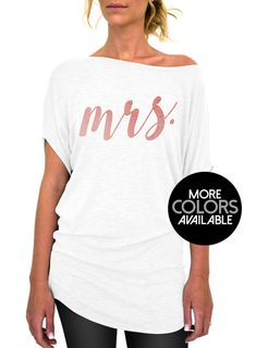 1b10a993f34 Mrs Shirt, Cursive, Mrs. Top, Rose and Pearl, Collection, Off the shoulder, Slouchy  Tee, Womens Top, Gift for Bride, Gift Idea, Bride Shirt