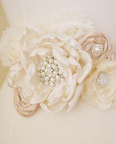 Ivory and Blush Bridal Sash  Vintage Style by weddingsandsuch, $115.00