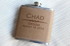 7 Personalized Leather Flasks Groomsman Gift by EngravingsOnDemand