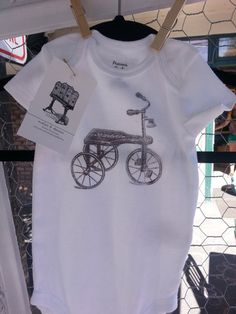 #Printed #Onesie - 9 mo. #local #locavore #MadeinUSA #seattle #children #kids #baby #vintage #tricycle
