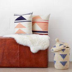 Geometric Throw Pillows | 100% Wool | Navy & Peach   – The Citizenry