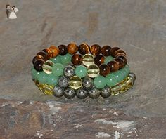 8mm Tiger's Eye, Green Aventurine, Citrine and Pyrite Beaded Handmade Bracelet, Stack Bracelets, Money Crystals, Healing Gemstone Jewelry - Wedding bracelets (*Amazon Partner-Link)