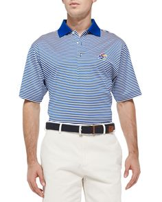 University of Kansas Striped Gameday College Polo Shirt, Men's, Size: MEDIUM, Blue Stripes - Peter Millar