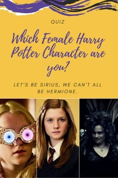 Let's be Sirius, we can't all be Hermione. So find out which Harry Potter lady you are! Let's stick our faces in this virtual Pensieve and find out...