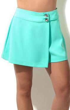 Short Saia Abotoamento Frente Short Skirts, Short Dresses, Short Infantil, Skort, Skirt Fashion, Dress Skirt, Plus Size, Couture, Lady
