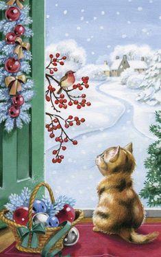 Christmas Kitten Watching Bird and Berries by DBK-Art Licensing - Weihnachten