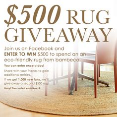 Win an eco-friendly rug from bambeco. #sweepstakes