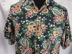 Art of Eddy Reyn Spooner ukulele lei florals green brown Hawaiian Shirt XL  #ReynSpooner #Hawaiian