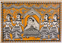 """Madhubani mithali made in cold pressed paper and acrylic paint. It's beautiful art of monochromatic folk art with mustard golden yellow in the background Dimension: x 16 """" Material : Black Indian ink, acrylic on cold press paper Unframed . Madhubani Paintings Peacock, Kalamkari Painting, Madhubani Art, Indian Art Paintings, Original Paintings, Original Art, Easy Paintings, Abstract Paintings, Oil Paintings"""