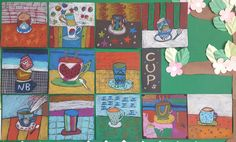 5th grade / oil pastel painting / design art / pattern art / cup drawing