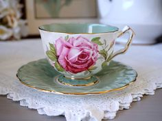 Vintage Aynsley Tea Cup and Saucer, Large Pink Cabbage Roses, Crocus Shape Mint Green Band, Gold Gilt Trim, Cabbage Roses, China Tea Cups, Rose Tea, Tea Service, My Cup Of Tea, Tea Cup Saucer, Afternoon Tea, Vintage Teacups, Tea Time