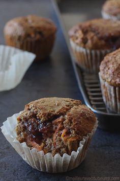 Vous trouverez rarement une recette de muffins aussi santé : farine de blé, son de blé, compote de pommes, peu de sucre, peu de matière grasse.