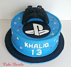 Custom Birthday cakes made by Cake Devils 14th Birthday Cakes, Custom Birthday Cakes, 11th Birthday, Fondant Cake Toppers, Cupcake Cakes, Playstation Cake, Xbox, Ps4 Cake, Nintendo Cake