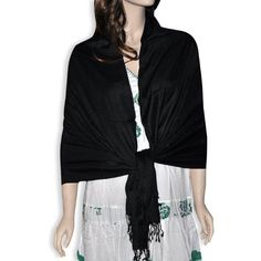 Plain Black Silk Wool Scarf Stole Self Printed