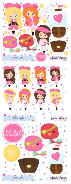 pirate girl clipart and vectors for a pirate party, crafts, and products