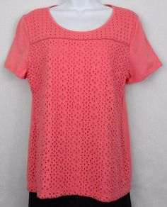 Croft Barrow Petites Top Size PM Pink Short Sleeve Scoop Neck Knit Shirt Womens - This scoop neck knit top features an embroidered eyelet  front panel with a solid lining, short sleeves, and back.