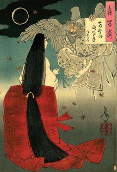 Taiso Yoshitoshi (1839–1892)  Mount Yoshino Moon at Midnight—Iga no Tsubone  1886 #Yoshitoshi