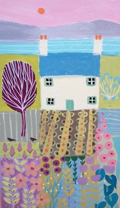 Signed Original Painting Acrylic on Board -Sea View - by Annabel Burton #Impressionist