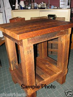 Rustic Salvaged Barn Wood Oak Butcher Block Style Table