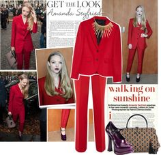Get The Look: Amanda Seyfried in a red suit Red Suit, Evening Outfits, Amanda Seyfried, Slim Pants, Celebrity Look, Get The Look, Pretty Outfits, Fashion Looks, Leather Jacket