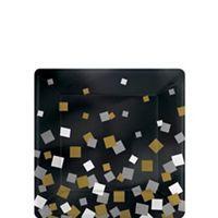 Metallic Black, Gold & Silver Squares Dessert Plates 8ct - Party City