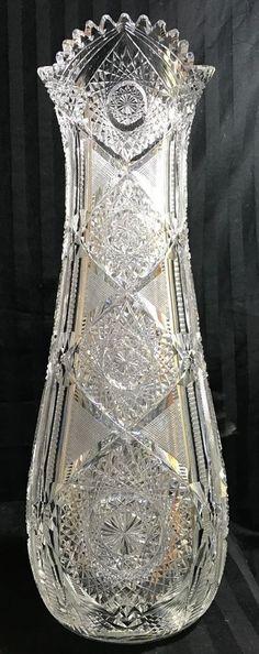 RARE ANTIQUE ABP J. HOARE ACME PATTERN SUPERIOR HEAVY THICK 181/2 CUT GLASS VASE  | eBay