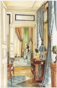 "Mark Hampton's rendering of a room by  Madeleine Castaing from his book ""Legendary Decorators of The Twentieth Century""."