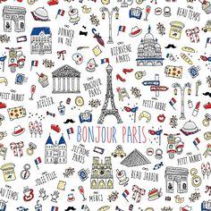 파리 패턴 - 일러스트레이션 · 파인아트, 일러스트레이션, 파인아트, 일러스트레이션, 파인아트