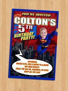 Superman Birthday Invitation Personalised DCSuperhero Party Comicbook
