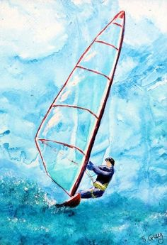 An original acrylic windsurfing painting presented in a mount ready to pop straight into a standard 9 x 7 inch frame. The painting has been fully varnished and the mount has been protected with a coat of PVA so this painting can be displayed with or wi. Sports Painting, Sports Drawings, Sports Graphics, Sports Wallpapers, Sport Photography, Seascape Paintings, Sports Art, Outdoor Recreation, Water Sports