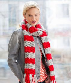 """Red Heart Team Spirit Red /& White 58/"""" long Scarf NEW Handmade KNIT SCARF /& HAT"""