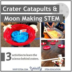 """Launch into a deep study of space rocks, the lunar surface, and craters that is sure to leave a lasting impact! Have your kids build a catapult that launches """"research equipment"""" into craters to help study them. Then create a natural satellite of their own with craters like our Moon. Explanations of the types of craters, crater parts, most famous Earth craters, how they're formed Science Topics, Stem Science, Science Activities, Stem Curriculum, Engineering Design Process, Study Space, Building For Kids, Catapult, Hands On Activities"""