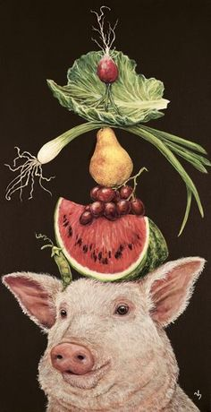 Vicki Sawyer - Available Originals Art And Illustration, Illustrations, Fantasy Kunst, Fantasy Art, Tom E Jerry, Pig Art, Whimsical Art, Animal Paintings, Pet Portraits