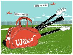 Wilco Newport Folk festival by B Methe Guitar Posters, Concert Posters, Gig Poster, Poster Prints, Music Posters, Folk Festival, Music Artwork, Music Images, Newport