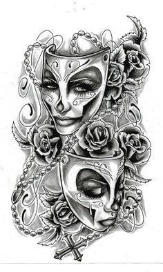 Masks,rosary and roses