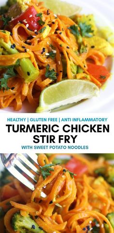 Turmeric Chicken Stir Fry with Sweet Potato Noodles. This healthy dinner is not only gluten free, and diary free but also has the health benefits of low histamine diet and anti inflammatory. Perfect for those with chronic hives and inflammatory problems. Diet Recipes, Chicken Recipes, Healthy Recipes, Smoothie Recipes, Clean Eating, Healthy Eating, Recetas Whole30, Low Histamine Foods, Sweet Potato Noodles